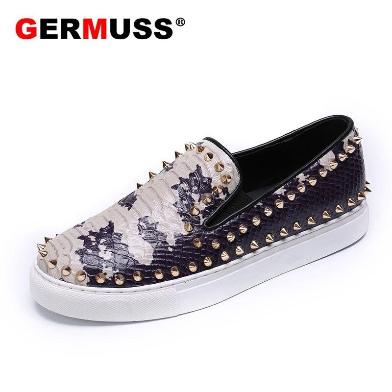 Shoes Men's Shoes The Best Germuss Scarpe Luxury Snake Pattern Fashionable Mens Shoes Diamond Rhinestones Wedding Social Sapato Masculino Male Flats Shoes Elegant Shape