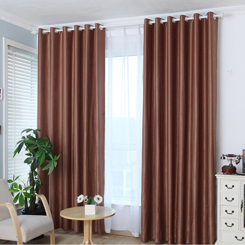 1 PC Window Curtain  Upscale Jacquard Yarn Curtains Solid Grommet Window Living Room Bedroom Curtain For Living On Hooks