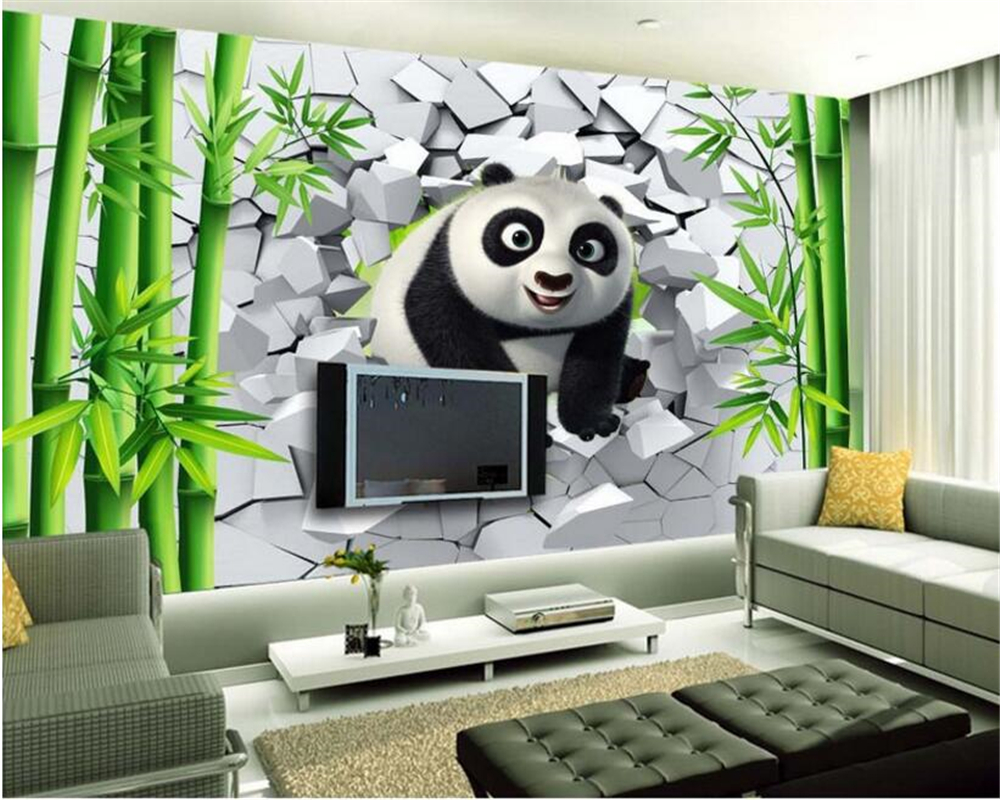 Large papel de parede decorative 3d wall panels murals wallpaper for - Beibehang 2017 New Home Decoration Papel De Parede 3d Wallpaper Fashion Personality Hole Cute Panda Bamboo Forest Tv Wall Murals