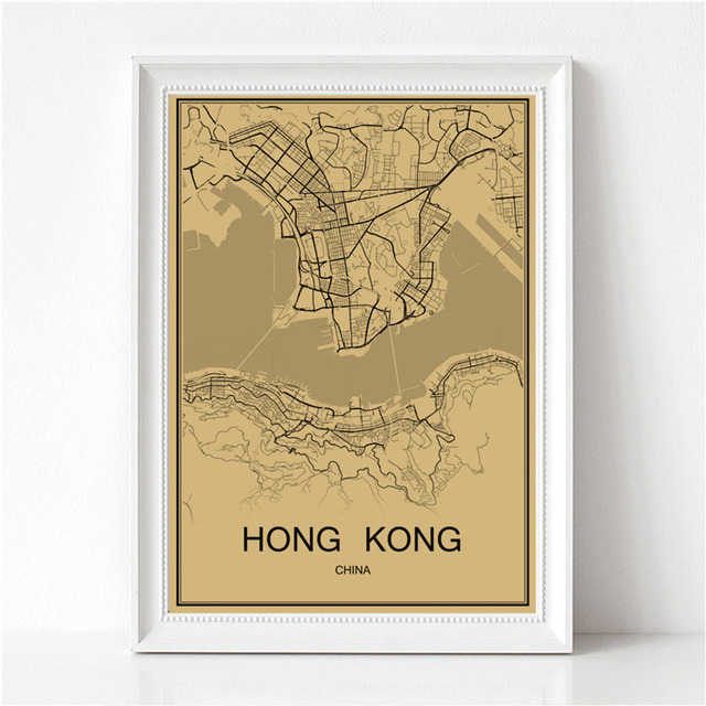 Famous city hong kong vintage poster world map krafts paper retro famous city hong kong vintage poster world map krafts paper retro painting art wall picture home gumiabroncs Choice Image