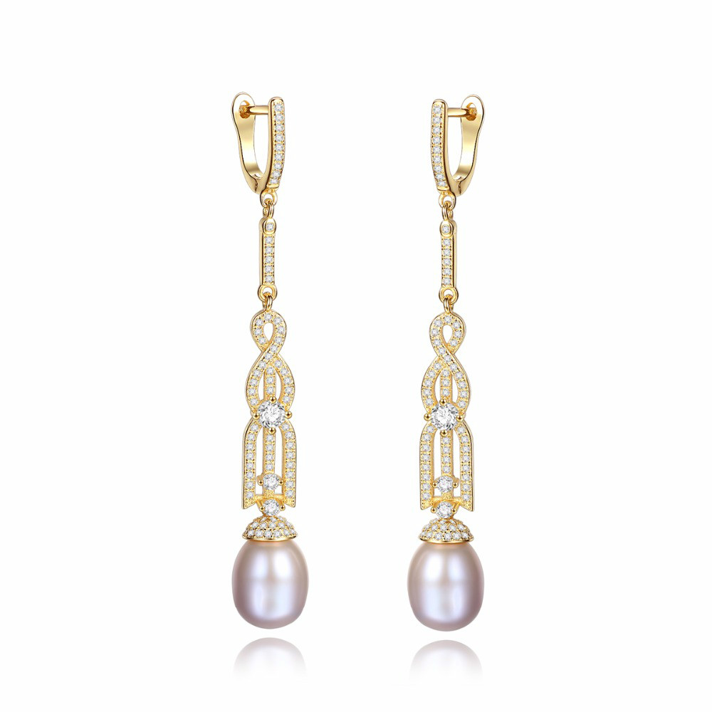 925 Sterling Silver Long Clip Earrings Fine Jewelry Natural Freshwater Pearl Female Bohemia Bijoux Accessories