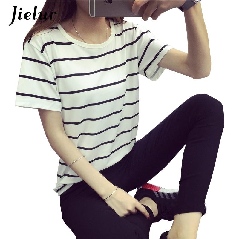 Jielur Summer Fashion Loose Camisetas Mujer de manga corta Camiseta a - Ropa de mujer