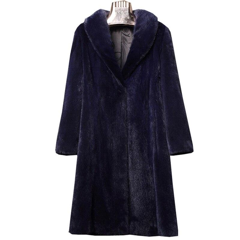 Taille Mode Mince Blue Vison Femmes Fausse Dk S Femelle noir Grande Velours Long coats De Nouvelle Trench En Fourrure Hiver Manteau Pardessus 6xl xFTTqOSEw