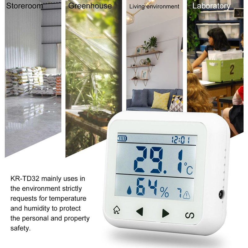 Control Module LED Display Adjustable Temperature And Humidity Alarm Sensor Detector Alarm Protect the personal and property temperature and humidity sensor protective shell sht10 protective sleeve sht20 flue cured tobacco high humidity