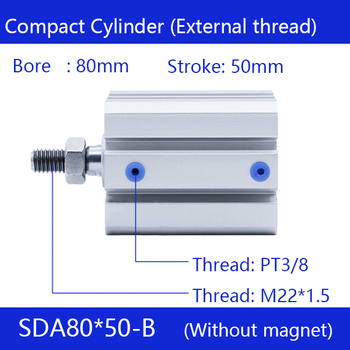 SDA80*50-B Free shipping 80mm Bore 50mm Stroke External thread Compact Air Cylinders  Dual Action Air Pneumatic Cylinder