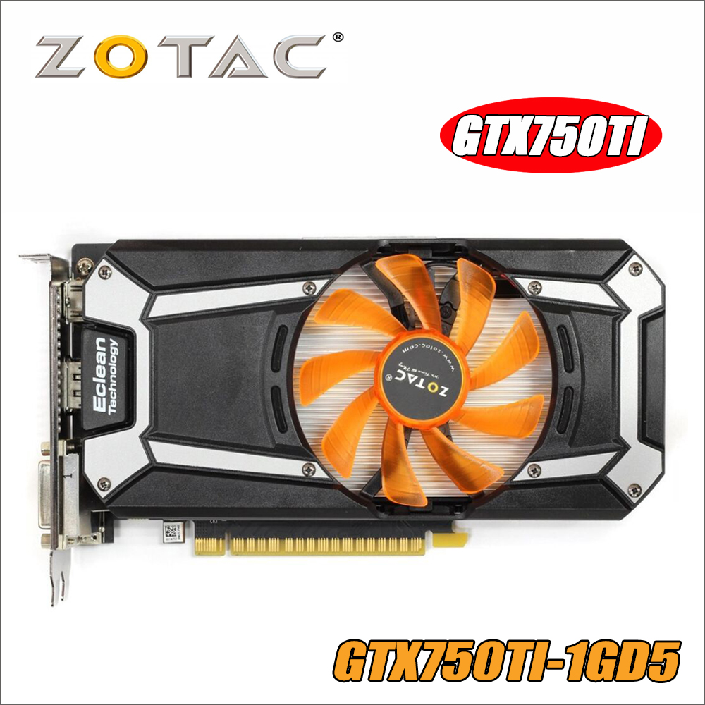 Original ZOTAC Video Card GeForce GTX 750 Ti 1GB 128Bit GDDR5 1GD5 Graphics Cards for nVIDIA Map GTX750 Ti 1GD5 Hdmi Dvi 750ti