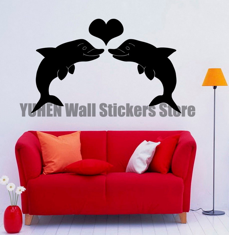 Dolphin Animal Wall Stickers Protector Stickers Bedroom Living Room Room  Decoration Artwork Peach Heart Love Decals