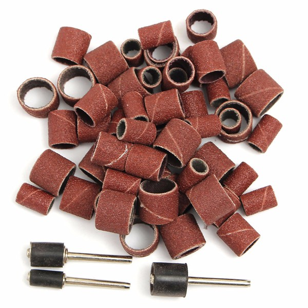 63pcs/set 80Grit Drum Sanding Kit 1/2 3/8 1/4 Inch Sand Mandrels Fit For Dremel Nail Drill Rotary Tools