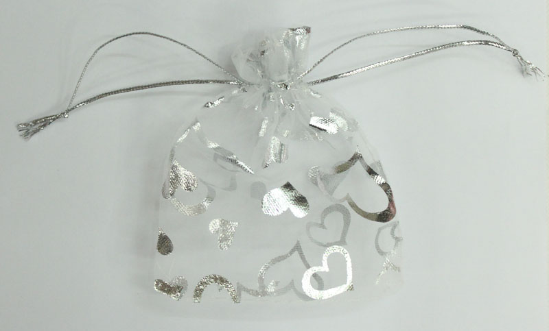 ALY Wholesale 100pcs 11x16cm Heart Silver Bronzing Organza Bags White Jewelry Bags And Packaging Small Drawstring Pouches