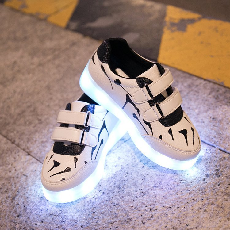 Glowing Sneakers Children LED Shoes USB Rechargeable Printed Kids Luminous Sneakers Boys Sports Shoes for Girls Shoe with light