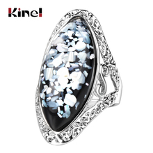 Kinel Luxury Colorful Shells Ring For Women Charm Artificial Coral Accessories Silver Color Oval Vintage Big Rings Drop Shipping artificial gem oval ring