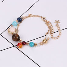 Fashion Bracelet Universe Galaxy the Eight Planets Solar System Beads Bracelet Energy Star Natural Stone Chain Bracelet Bangle(China)