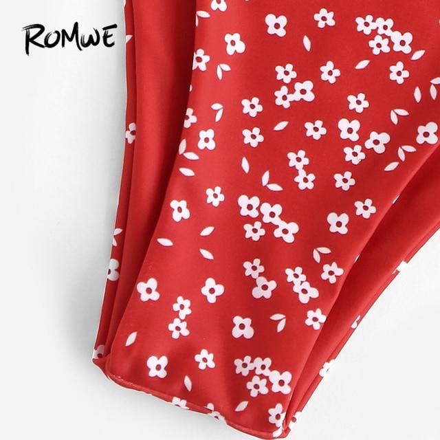 Romwe Спорт Красный бязь цветочный принт узел спереди бикини набор глубокий v-образный вырез Низкая посадка сексуальные летние женские пляжны... 3