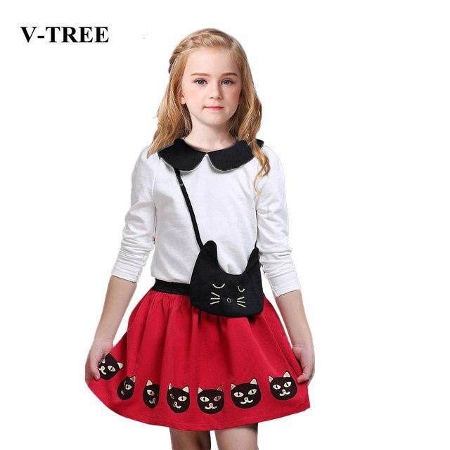 V-TREE Весенние костюмы для девочек с длинным рукавом + юбка одежда наборы кот девушки установить хлопок детская одежда набор