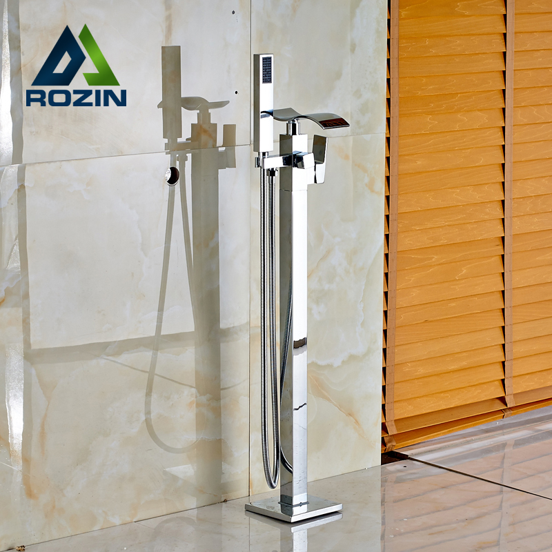 Bright Chrome Single Lever Brass Waterfall Floor Mounted Bathtub Faucet Set with Handheld Shower Head