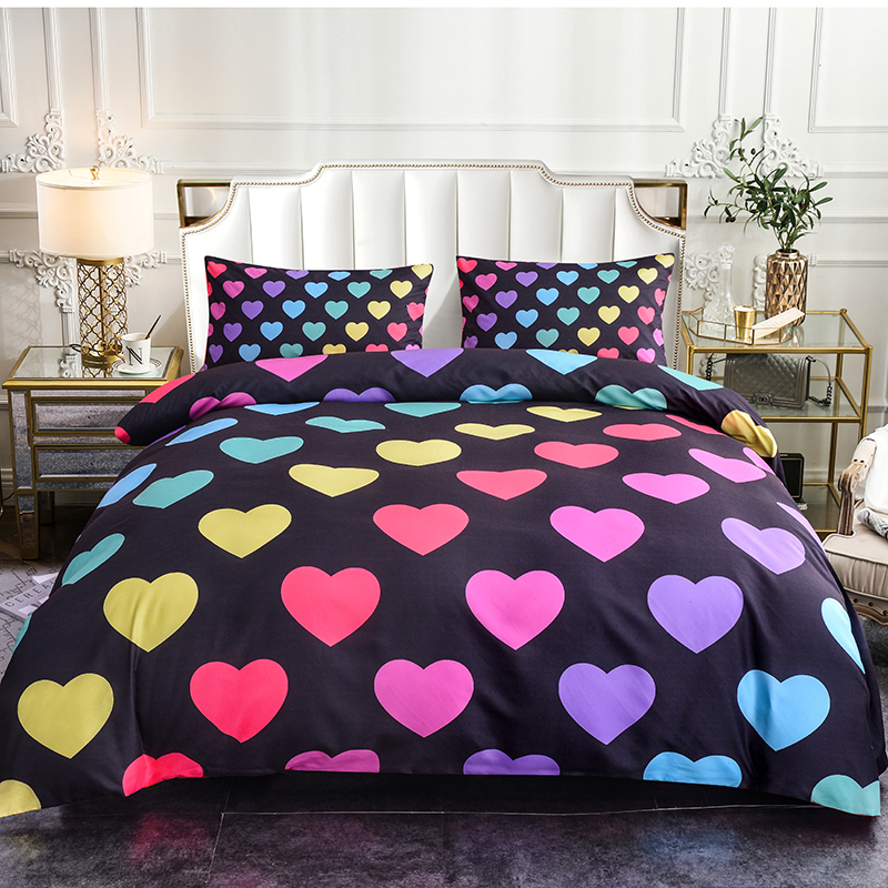 Boniu Bedroom Decor Hearts Pattern Bedding Set for Adults Girls Boys Gifts 2 3pcs Queen Size