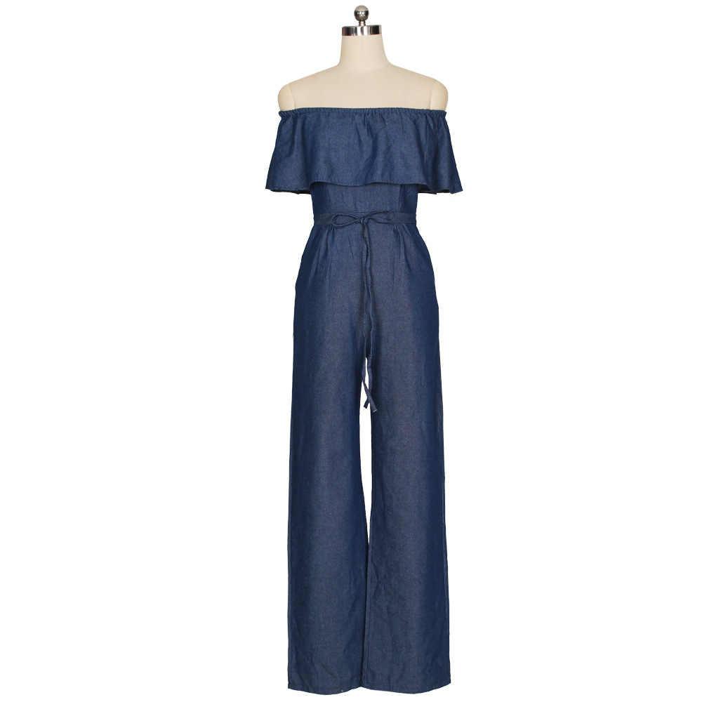 Повседневное Женская Wide-Leg Jumpsuit-2018 Лидер продаж Европа и Америка Новое поступление пикантные без рукавов джинсовый комбинезон Y014
