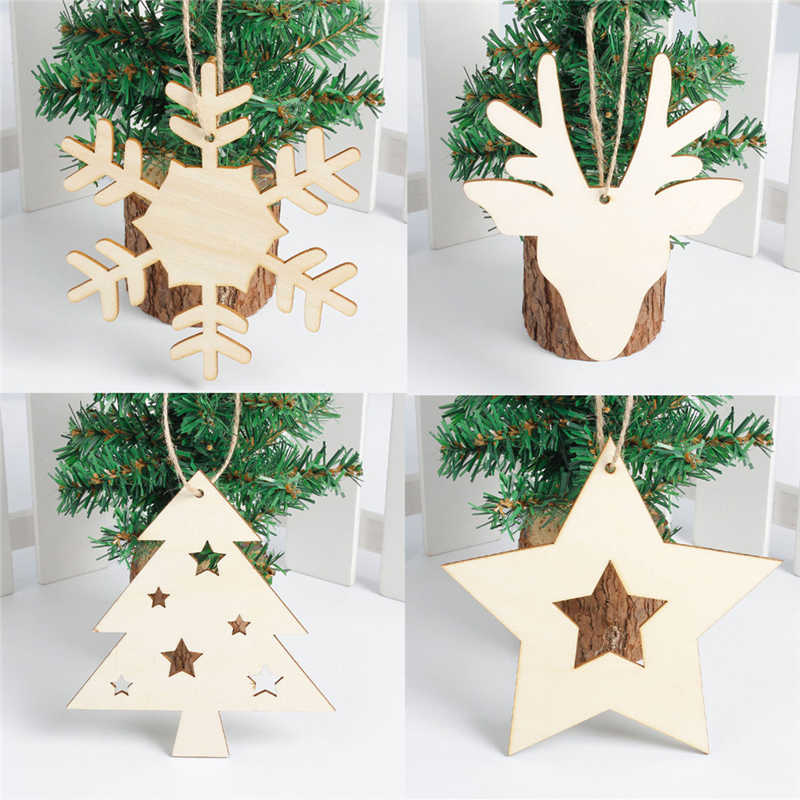 Two Become One Decorative Trees: Snowflake Wood Embellishments Rustic Christmas Tree
