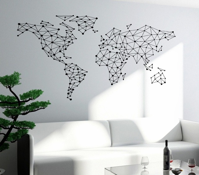 Free Shipping Art Wall Sticker Special World Map Geometric Design World Map  Wall Decals Vinyl Home