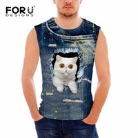 FORUDESIGNS 2017 Tank Hot Men Fitness Clothing Muscle Shirt Man Tank Top 3D Series Cowboy Cats