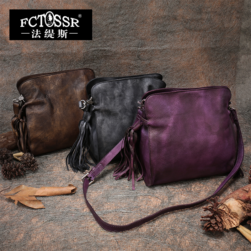 Retro Genuine Leather Handbags Female Tassel Sling Bag 2018 Handmade Cow Leather Shoulder Bag Leisure Messenger Bags Women vintage women genuine leather handbags ladies retro elegant shoulder messenger bag cow leather handmade womans bags