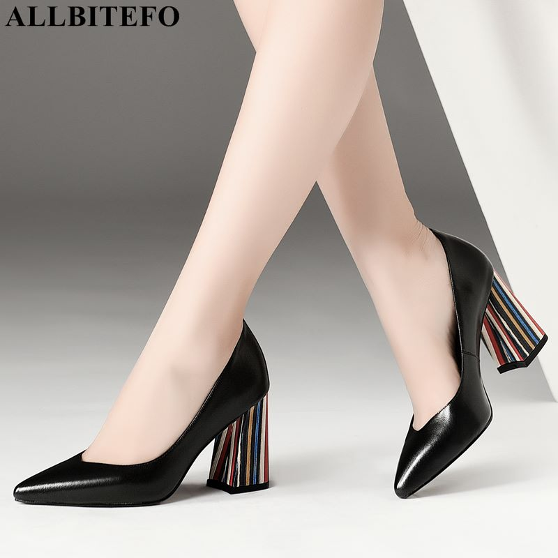 ALLBITEFO colors heel full genuine leather pointed toe sexy high heels office ladies shoes high quality