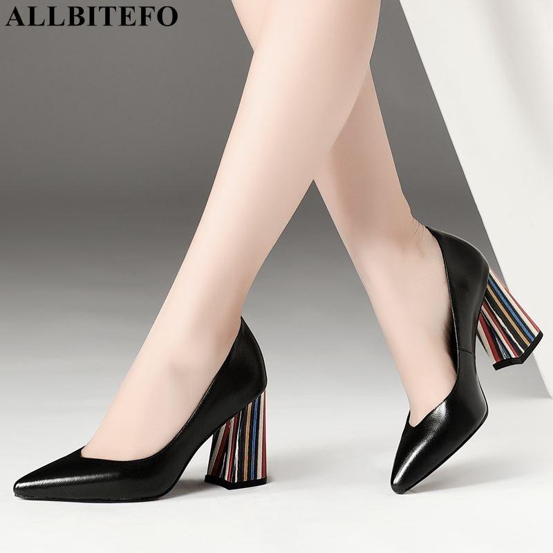 2d708b170 ALLBITEFO cores heel couro cheia genuína dedo apontado sexy de salto alto  sapatas das senhoras do escritório de alta qualidade mulheres sapatos de  salto ...