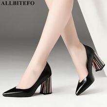 ALLBITEFO 색상 발 뒤꿈치 전체 정품 가죽 지적 발가락 섹시한 하이힐 사무실 숙녀 신발 고품질 여성 하이힐 신발