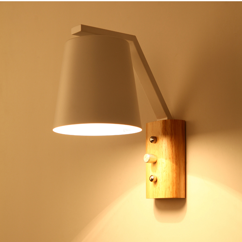 Modern Wall Sconce Wood Wall Lights Fixtures LED Black ...