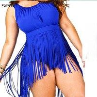 Oversize Summer solid color Swimwear Women One Piece Strappy Swim Suit Plus Size Swimwear fringing Large Size Swimsuit water