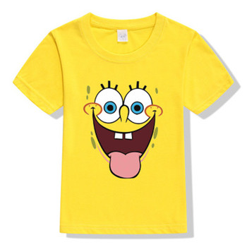 Cartoon Sponge T Shirt  Boys Girls  2019 Summer Children's Clothing 3D Animal  Cotton Toddler Girl Tops Tee Boy Kids  T-shirt 1