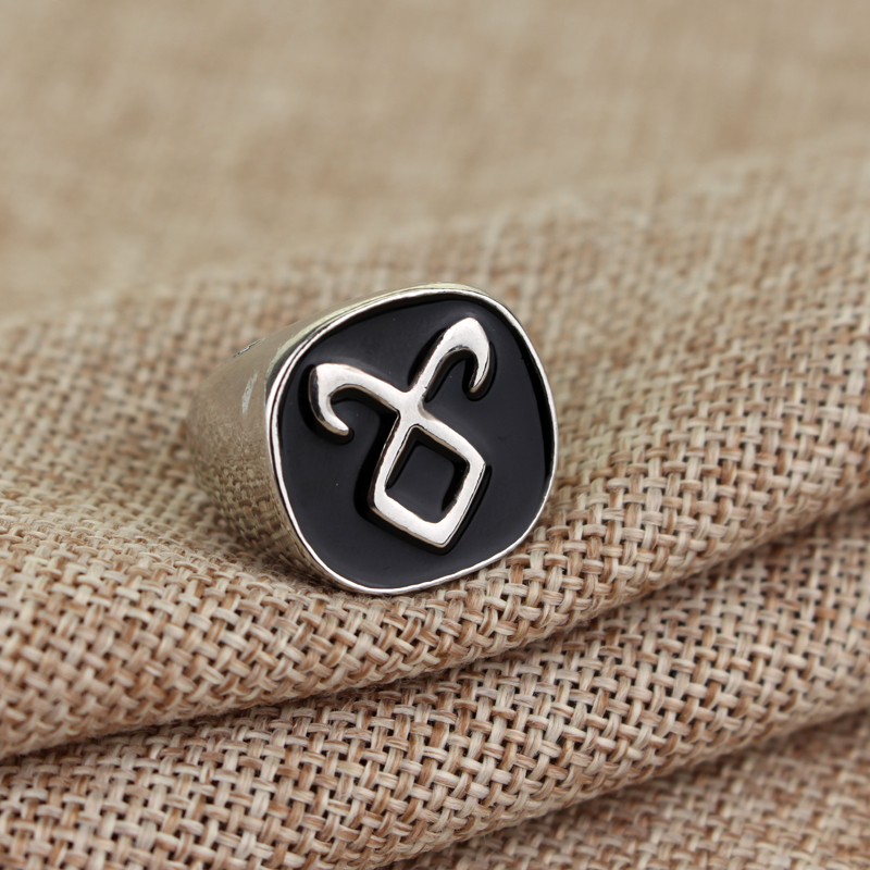 Hot Sale The Mortal Instruments City Of Bones Angelic Power Rune Simple Style Ring Vintage Metal Ring With Black Enamel Men Gift