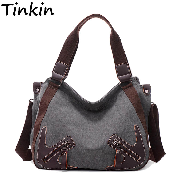 Tinkin Canvas Women Shoulder Bags Vintage Femal Handbag Tote Mori Woman Crossbody Bag High Quality Daily Uses Hobos Bag