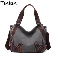 Tinkin Canvas Women Shoulder Bags Vintage Femal Handbag Tote Mori Woman Crossbody Bag High Quality Daily Uses Hobos Bag