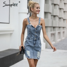 Simplee Sexy strap vintage denim dress Women v neck high waist bodycon dress 2017 autumn short dresses casual blue mini vestidos