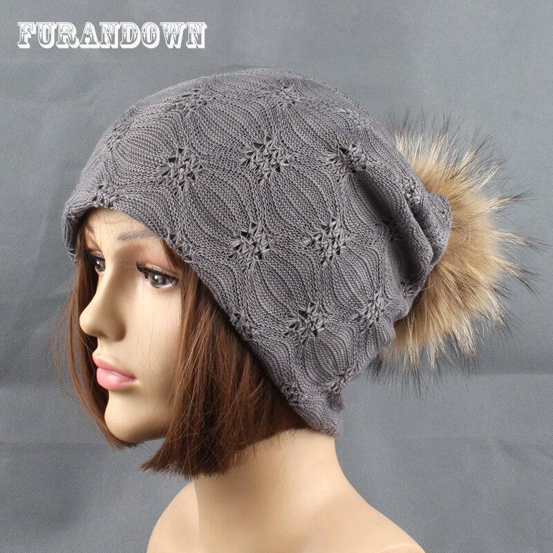 2017 New autumn women casual lace   beanie   Caps detachable fur pompom hats girls   skullies     beanies   turban hat cap