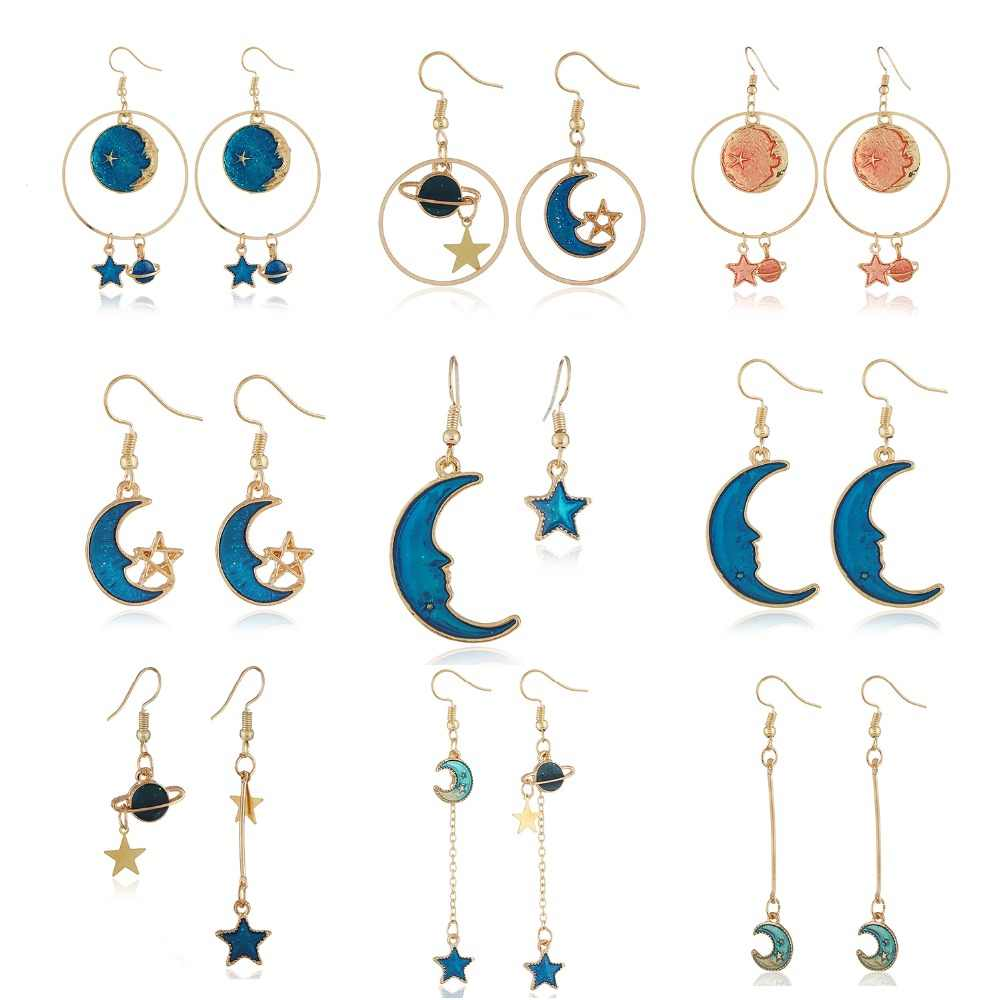 New Design Korean Blue Enamel Long Dangle Earrings For Women Jewelry Lovely Planet Universe Star Moon Drop Earrings