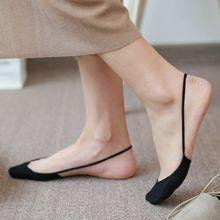 Женские однотонные невидимые носки на высоком каблуке; Модные женские слинбэки с закрытой пяткой