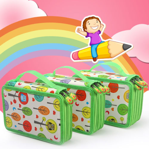 Fabirc Pencil Bag Sketch Pen Case Large Smile Zipper Multilayer Hole Pencilcase Kid Girls Office School Multifunction Stationery kawaii cartoon girls folding multifunction school supplies pencil case cute stationery pen bag pouch box pencilcase for gir b157