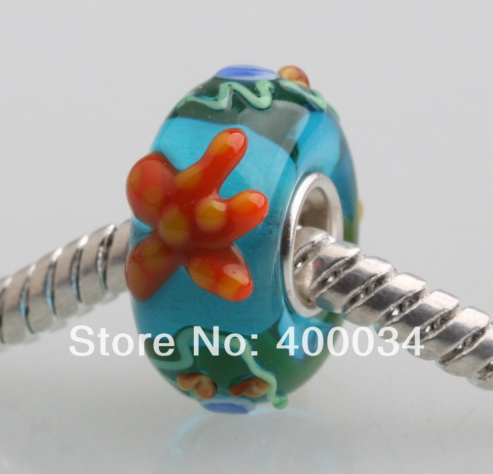 DW127 Red Sea Star Murano Glass Beads Fit for 3MM European Fashion Jewelry Findings & Components