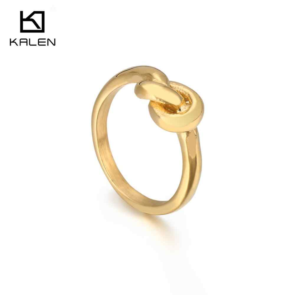 KALEN Stainless Steel Rose Gold Finger Rings For Women Size 6-9 Chinese Knot Charm Midi Rings Engagement Female Rings Jewelry