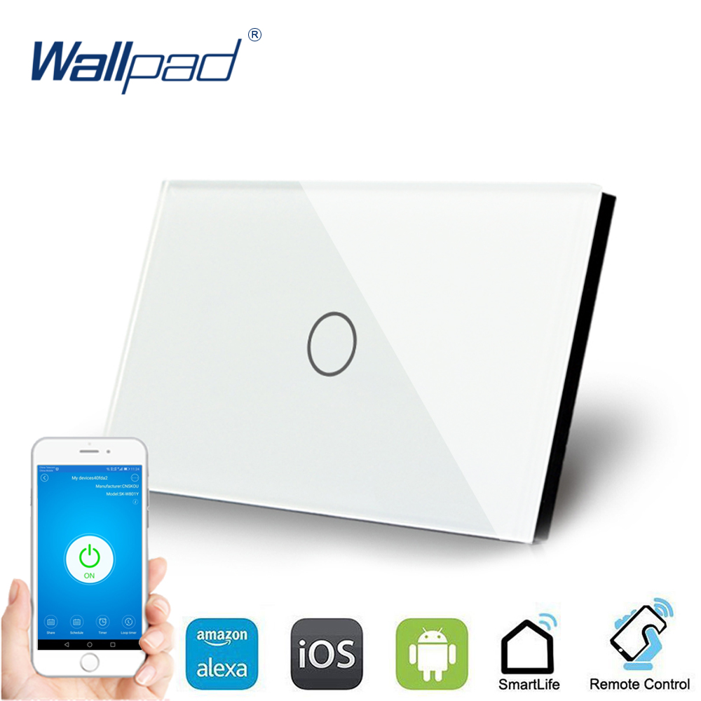 US 1 Gang WIFI Control US Touch Switch Wallpad 1 Gang 1 Way AU Wall Switch Glass Panel Smart Home Alexa Google home IOS Android wifi control touch switch wallpad 1 gang 1 way us wall switch crystal glass panel smart home alexa google home ios android