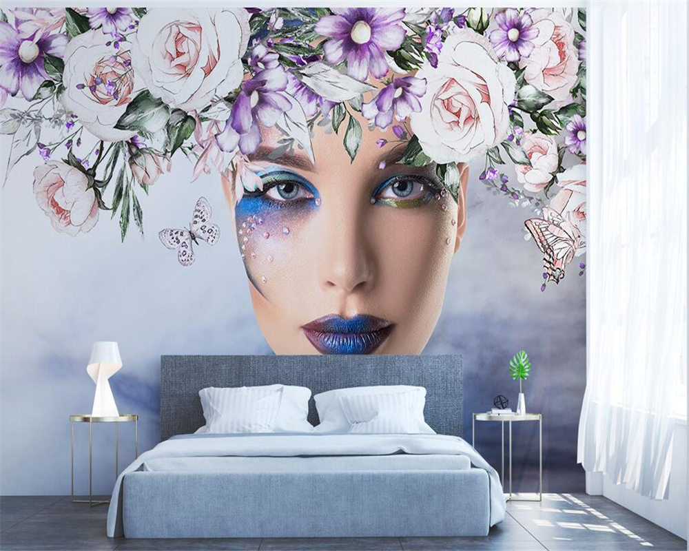Beibehang Custom wallpaper abstract watercolor beautiful roses TV background living room bedroom background mural 3d wallpaper
