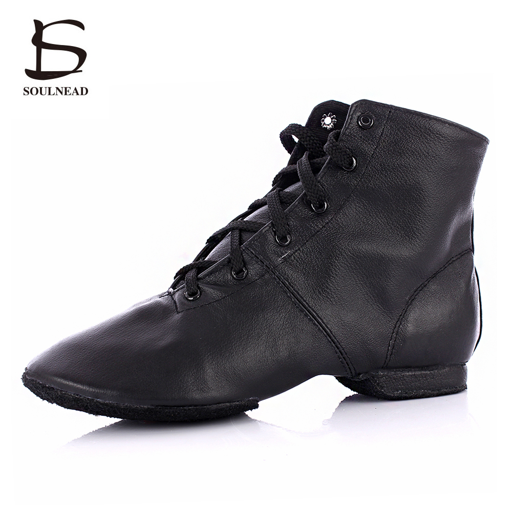 High Quality Adult Jazz Dance Shoes Lace-up Ballroom Dance shoes Women's/Men's Profession Genuine Leather Jazz Boots for sale 8 colors high top jazz dancing cancas shoes dance shoes oxford lace up jazz sneaker canvas jazz ankle boots 5141