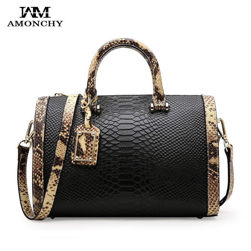 AMONCHY Famous Brand Genuine Leather Women's Bags Fashion Serpentine Handbags Shoulder Bag Luxury Ladies 100% Natural Skin Totes amonchy genuine leather men shoulder bags handbags crocodile male bags natural leather man messenger bag alligator totes sac m50