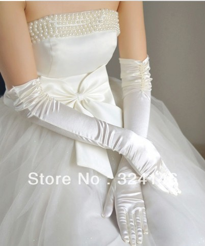 Free Shipping  bridal gloves double row long satin wedding dress formal dress gloves interspersion wedding accessories