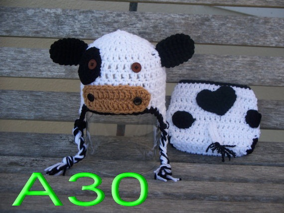 Free Shipping20set Baby Handmade Crochet Dairy Cow Hat With Diaper
