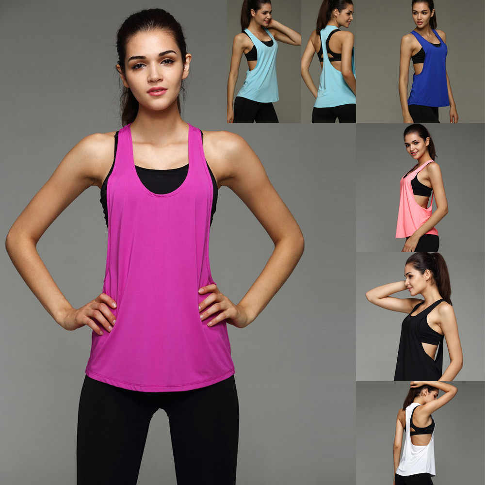 b3ac2f8103040 6 Colors Summer Sexy Women s Tank Tops Quick Drying Loose Brethable Fitness  Sleeveless Vest Workout Top