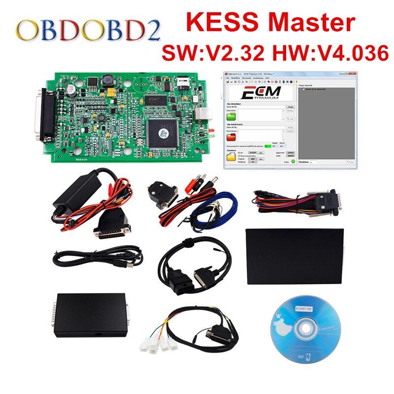 HW V4.036 KESS V2 V2.33 OBD2 менеджер Тюнинг Комплект мастер версия KESS V2 Нет Жетоны ограниченной Чип ECU Инструмент настройки ECM_Titanium SW