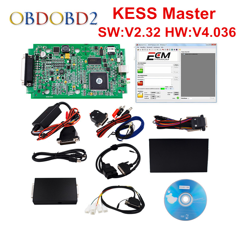 HW V4.036 KESS V2 V2.33 OBD2 Manager Tuning Kit Master Version KESS V2 No Tokens Limited ECU Chip Tuning Tool ECM_Titanium SW цена
